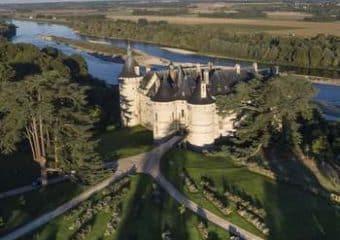 Le château de Chaumont et la Loire vus du ciel